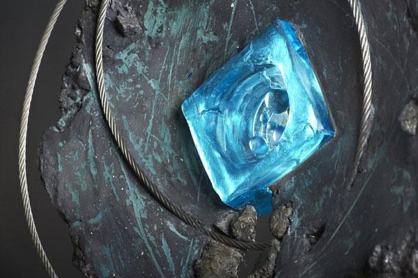 Swirl Hole # 3: Detail:  Cast Glass, Metal, Cement :  48 cm (h)x 48 cm (w) x 10 cm (d)