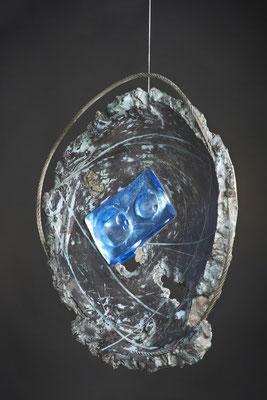 Swirl Hole # 1: Detail;   Cast Glass, Metal, Cement : 48 cm (h)x 46 cm (w) x 10 cm (d)