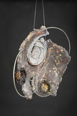 Empty Nest # 2 Cast Glass, Metal, Cement:   51 cm (h)x 53 cm (w) x 10 cm (d)