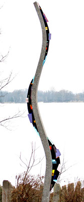 Lissome # 3, 2012; Cement and Fused Glass;  234 cm (h) x 40 cm(w) x 15 cm (d)