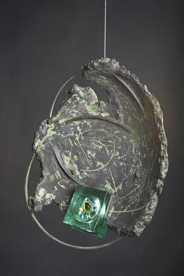 Swirl Hole # 2: Cast Glass, Metal, Cement : 48 cm (h)x 48 cm (w) x 10 cm (d)