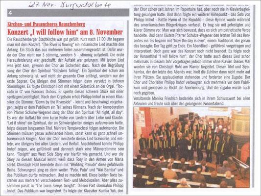 """I will follow him"" am 8. November - Konzert 2009 des Frauenchores Rauschenberg"