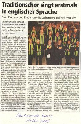 Traditionschor singt erstmals in englischer Sprache - Konzert 2009 des Frauenchores Rauschenberg