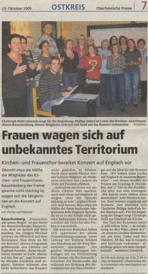 Frauen wagen sich auf unbekanntes Territorium - Konzert 2009 des Frauenchores Rauschenberg