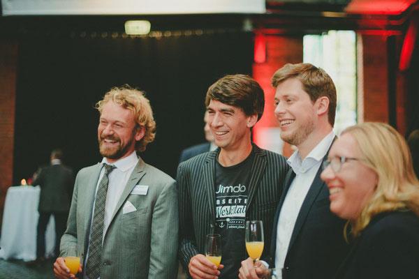 Fridtjof Detzner, Matthias Henze et Christian Springub, les 3 fondateurs de Jimdo lors de la remise du grand prix fondateurs à Hambourg