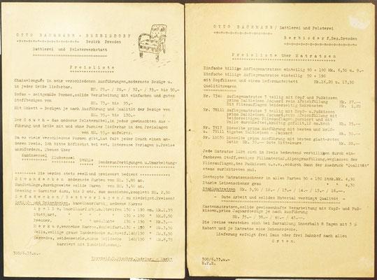 Werbeblätter mit Preisen von 1933