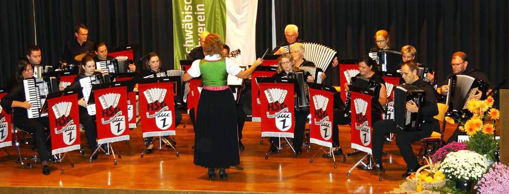Das erste Orchester der HSG unter der Leitung von Heidrun Harer.