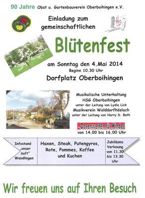 Werbeplakt Blütenfest 2014