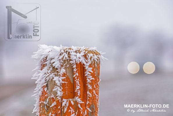 Frost in Sindlingen (Jettingen), Frostzäpchen auf einem Holzpfahl