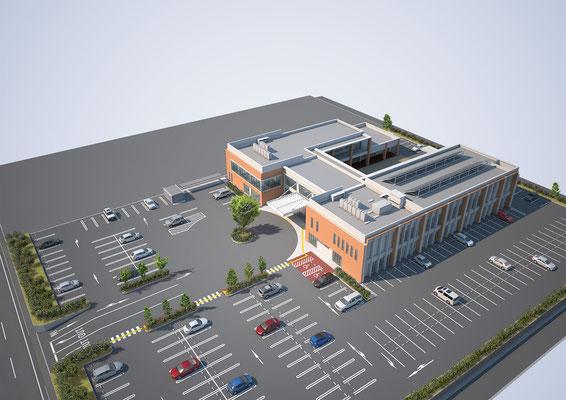 建築パース 鳥瞰 公共施設 CGパース