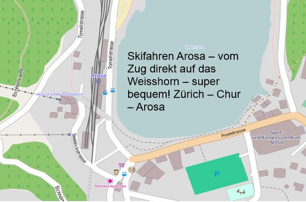 Skifahren mit Zug - Bahnhof direkt zur Weisshornbahn