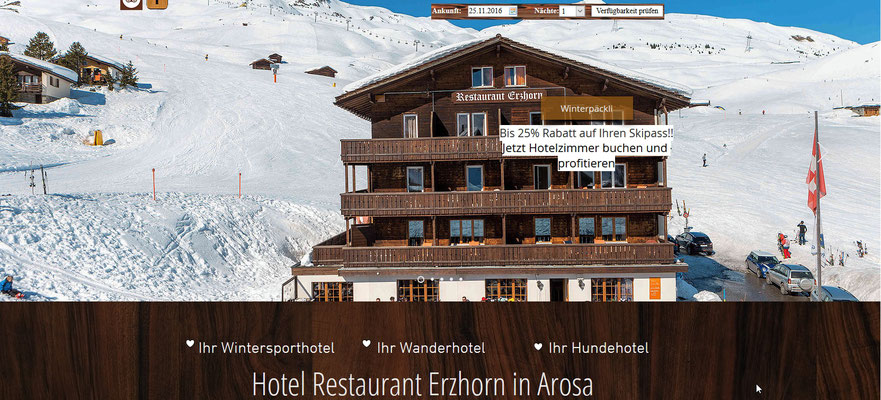 Erzhorn - das sympathische Hotel und Speiserestaurant auf der Piste