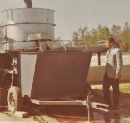 Lester with one of 12 SWECO separators that he sold to Burlington Industries in his first year on the job.
