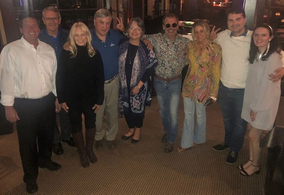 Members of the SWECO management team and the Preferred Process Solutions staff pose for a photo after dinner.  Some of us wore our favorite outfits from 1969, Lester's first year of selling SWECO.