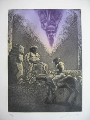 7.- El Caballero De La Triste Figura (Luís Lara), Aguafuerte, aguatinta, mancha 27,50 x 19,50 cm., soporte 37,50 x 28 cm.