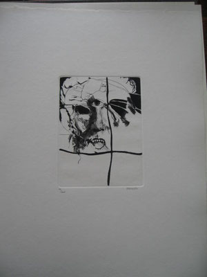 12.- Epílogo, Aguafuerte y Puntaseca, mancha 19,5 x 14,5 cm., soporte 49,5 x 38 cm.
