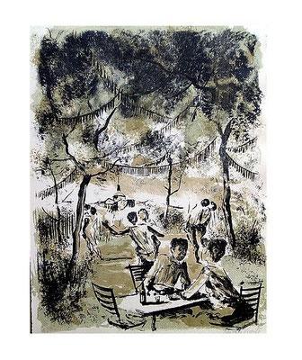 3.- Bailongo en las afueras, Litografía, mancha 48,5 x 37,5 cm., soporte 48,5 x 37,5 cm.