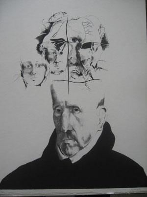 1.- Don Luís de Góngora, Aguafuerte y Puntaseca, mancha 50 x 38 cm., soporte 50 x 38 cm