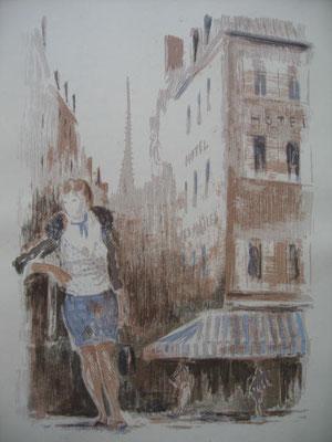 14.- La Dama del Boulevard, Litografía, mancha 43 x 33,5 cm., soporte 43 x 33,5 cm.