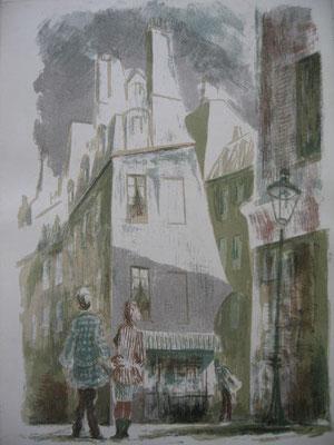 8.- Rincón de Menilmontant, Litografía, mancha 43 x 33,5 cm., soporte 43 x 33,5 cm.