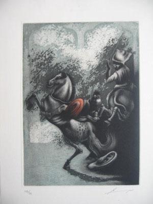 5.- La Batalla Contra El Vizcaíno (Luís Lara), Aguafuerte, aguatinta, mancha 27,50 x 19,50 cm., soporte 37,50 x 28 cm.