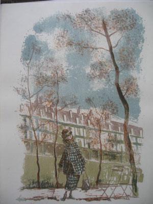 4.- Disfraz de Otoño,  Litografía, mancha 43 x 33,5 cm., soporte 43 x 33,5 cm.