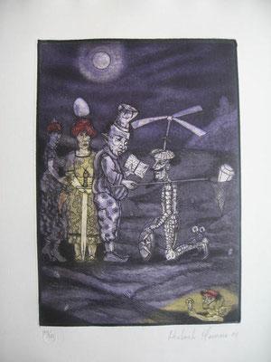 2.- Don Quijote Caballero (Norberto Marrero), Aguafuerte, aguatinta, mancha 27,50 x 19,50 cm., soporte 37,50 x 28 cm.
