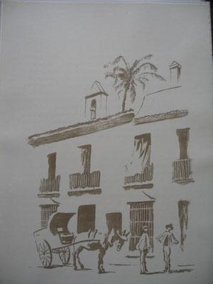 15.- Hacia Sevilla, (Litografía inacabada), mancha 43 x 33,5 cm., soporte 43 x 33,5 cm.