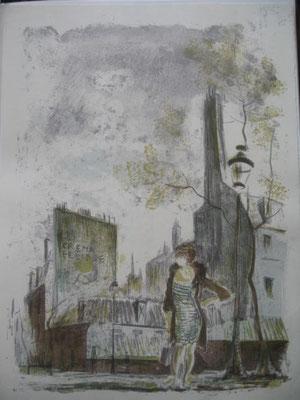 12.- Esperando, Litografía, mancha 43 x 33,5 cm., soporte 43 x 33,5 cm.
