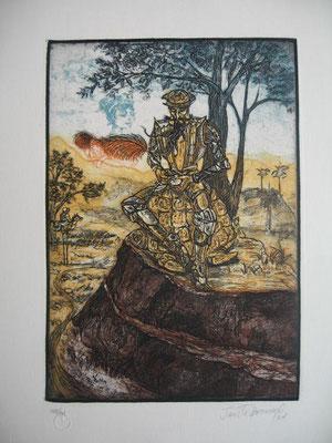 9.- Penitencia Y Carta A Dulcinea (Janette Brossard), Aguafuerte, aguatinta, mancha 27,50 x 19,50 cm., soporte 37,50 x 28 cm.