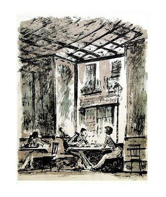 8.- Rincón de café, Litografía, mancha 48,5 x 37,5 cm., soporte 48,5 x 37,5 cm.