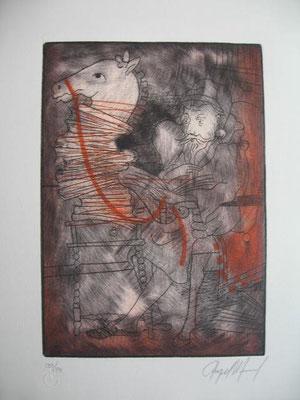 1.- La Locura De Don Quijote (Ángel Ramírez), Punta seca, mancha 27,50 x 19,50 cm., soporte 37,50 x 28 cm.