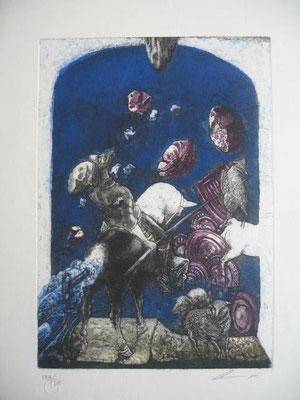 6.- El Suceso De Los Rebaños (Luís Lara), Aguafuerte, aguatinta, mancha 27,50 x 19,50 cm., soporte 37,50 x 28 cm.