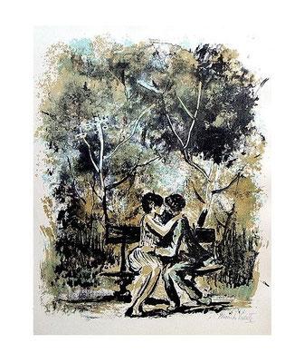 5.- Lo eterno del Retiro, Litografía, mancha 48,5 x 37,5 cm., soporte 48,5 x 37,5 cm.