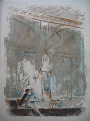 10.- Interior de Café, Litografía, mancha 43 x 33,5 cm., soporte 43 x 33,5 cm.