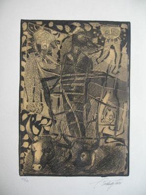 12.- Don Quijote Enjaulado (Carlos Del Toro), Aguafuerte, aguatinta, mancha 27,50 x 19,50 cm., soporte 37,50 x 28 cm.