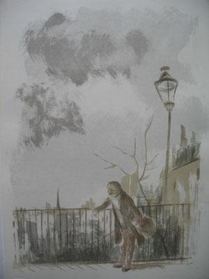 3.- La pasarela, Litografía, mancha 43 x 33,5 cm., soporte 43 x 33,5 cm.