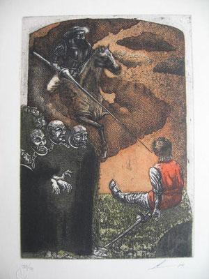 8.- La Liberación De Los Galeotes (Luís Lara), Aguafuerte, aguatinta, mancha 27,50 x 19,50 cm., soporte 37,50 x 28 cm.