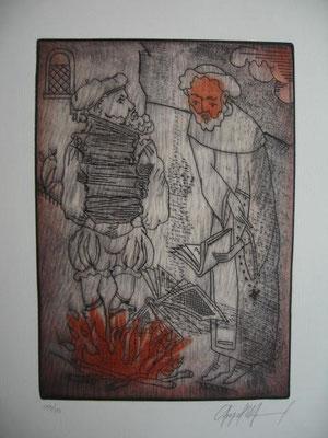 3.- El Escrutinio De Libros (Ángel Ramírez), Punta seca, mancha 27,50 x 19,50 cm., soporte 37,50 x 28 cm.