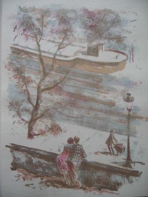 13.- Mansardes Sobre el Río, Litografía, mancha 43 x 33,5 cm., soporte 43 x 33,5 cm.