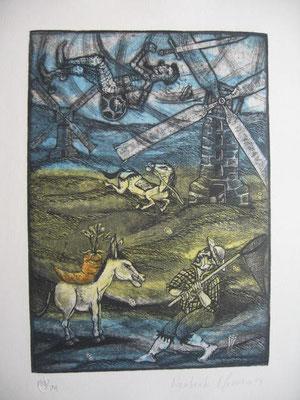 4.- La Aventura De Los Molinos (Norberto Marrero), Aguafuerte, aguatinta, mancha 27,50 x 19,50 cm., soporte 37,50 x 28 cm.