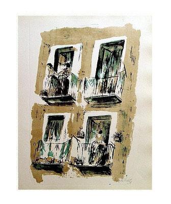 12.- Las vecinas, Litografía, mancha 48,5 x 37,5 cm., soporte 48,5 x 37,5 cm.