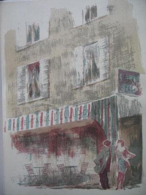 6.- Terraza de Bistro,  Litografía, mancha 43 x 33,5 cm., soporte 43 x 33,5 cm.