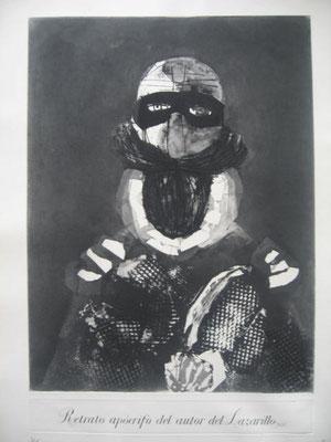1.- Retrato Apócrifo del Autor del Lazarillo, Aguafuerte, mancha 50,5 x 38,5 cm., soporte 44 x 30 cm.