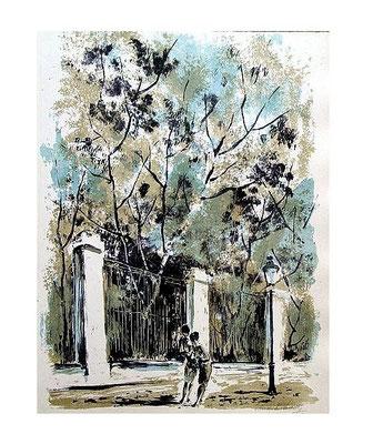 2.- La Verja del Botánico, Litografía, mancha 48,5 x 37,5 cm., soporte 48,5 x 37,5 cm.