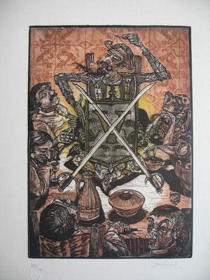 11.- El Discurso De Don Quijote (Janette Brossard), Aguafuerte, aguatinta, mancha 27,50 x 19,50 cm., soporte 37,50 x 28 cm.
