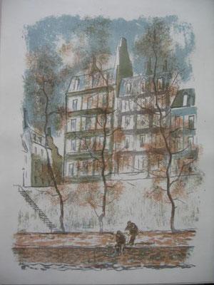 9.- Sobre el Sena, Litografía, mancha 43 x 33,5 cm., soporte 43 x 33,5 cm.