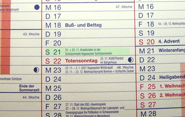 Das erste Mal kann man unsere Termine im BLV-Kalender nachverfolgen