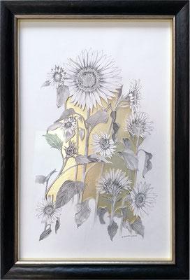 Soleil végétal, 2020, 74 x50 cm. Technique mixte,: mine graphite,  découpages et collages sur fond doré.
