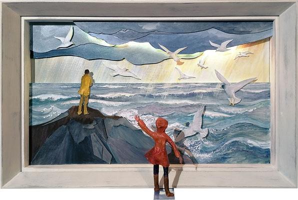 Houle, 2020, 71 x 56 cm. Technique mixte : acrylique, collages sur carton, personnage hors cadre en papier mâché, lumière intégrée (LED)